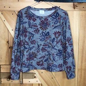 Anthro   t. la grey floral boatneck sweatshirt